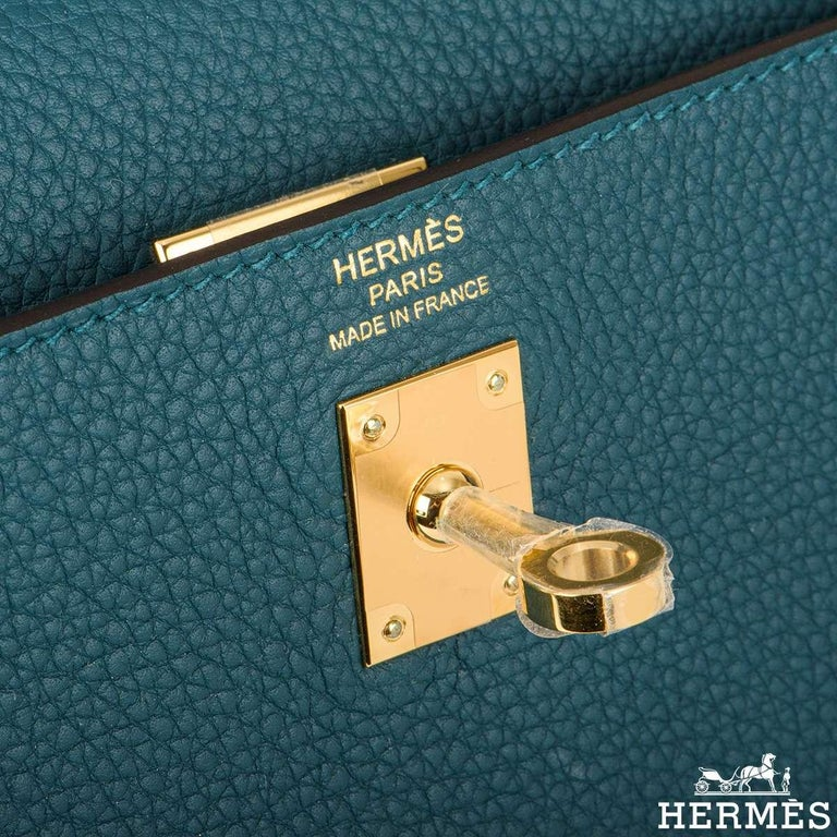 Hermès Kelly II Retourne 25cm Vert Bosphore Togo Handbag For Sale 1
