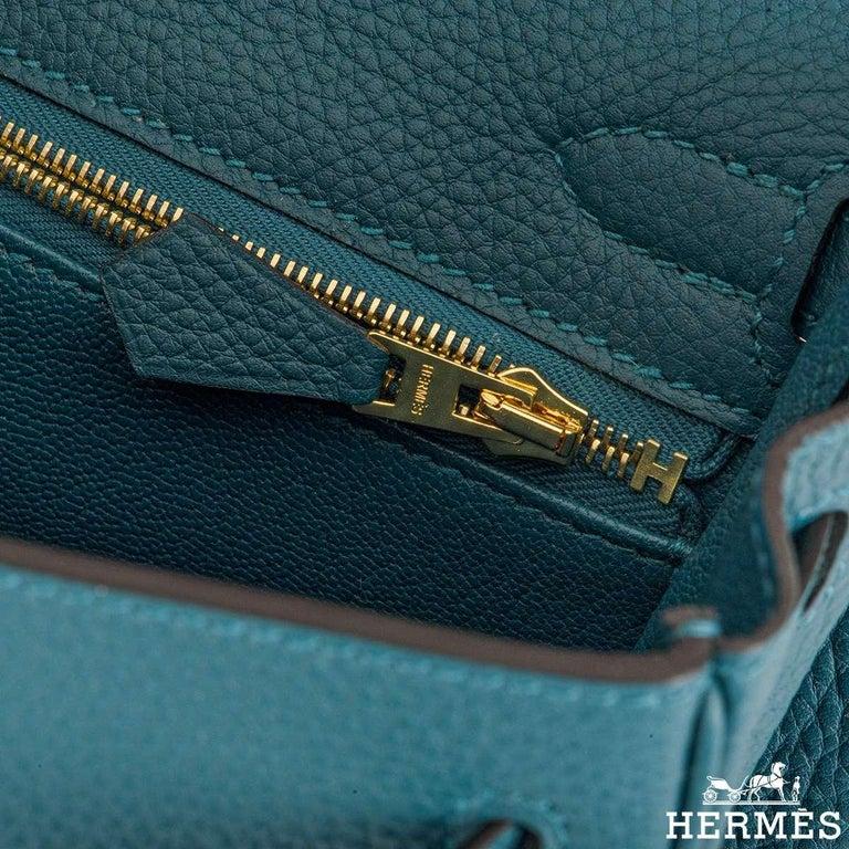 Hermès Kelly II Retourne 25cm Vert Bosphore Togo Handbag For Sale 2