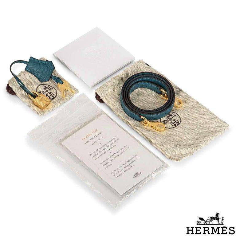 Hermès Kelly II Retourne 25cm Vert Bosphore Togo Handbag For Sale 4