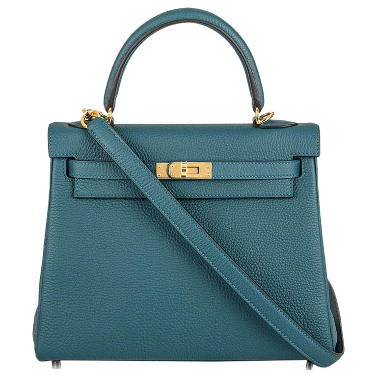 Hermès Kelly II Retourne 25cm Vert Bosphore Togo Handbag For Sale