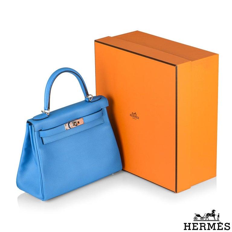 Hermès Kelly II Retourne 28cm Bleu Frida Evercolour PHW Handbag For Sale 5