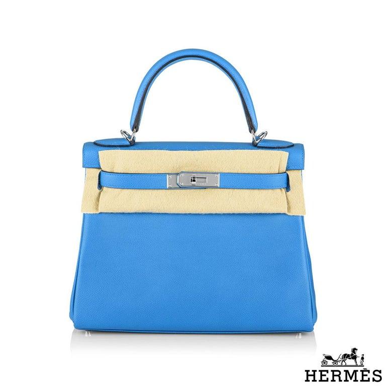 Blue Hermès Kelly II Retourne 28cm Bleu Frida Evercolour PHW Handbag For Sale