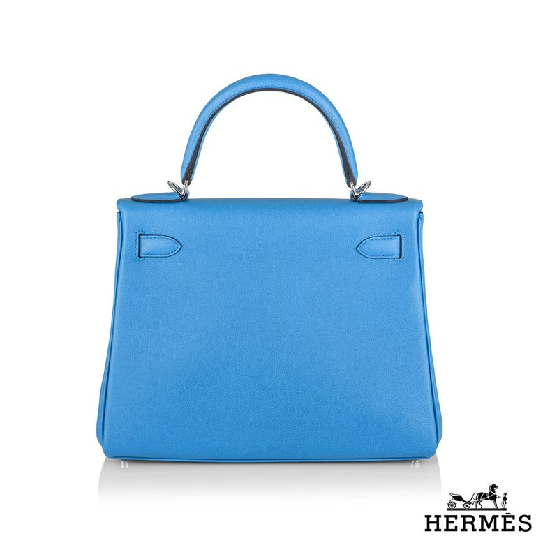 Hermès Kelly II Retourne 28cm Bleu Frida Evercolour PHW Handbag In New Condition For Sale In London, GB