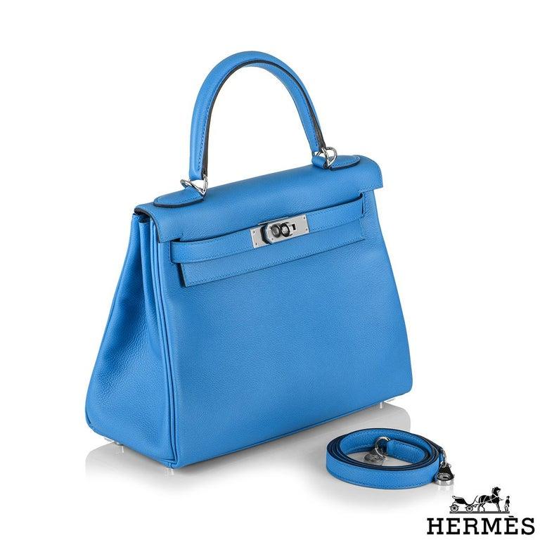Women's Hermès Kelly II Retourne 28cm Bleu Frida Evercolour PHW Handbag For Sale