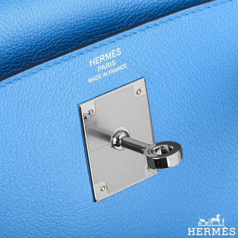 Hermès Kelly II Retourne 28cm Bleu Frida Evercolour PHW Handbag For Sale 1