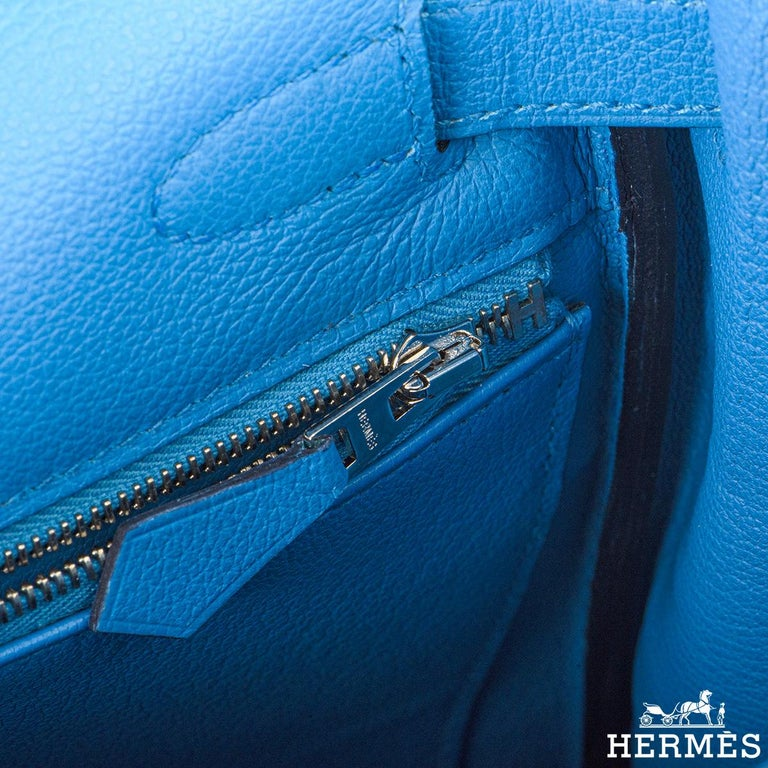 Hermès Kelly II Retourne 28cm Bleu Frida Evercolour PHW Handbag For Sale 3