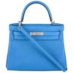 Hermès Kelly II Retourne 28cm Bleu Frida Evercolour PHW Handbag