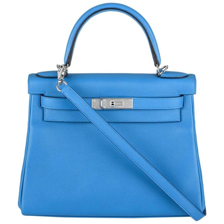 Hermès Kelly II Retourne 28cm Bleu Frida Evercolour PHW Handbag For Sale