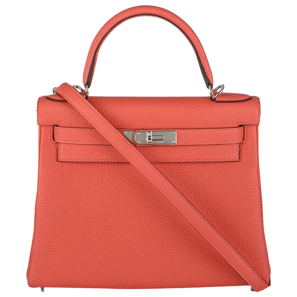 Hermès Kelly II Retourne 28cm Rose Texas Clemence PHW Handbag