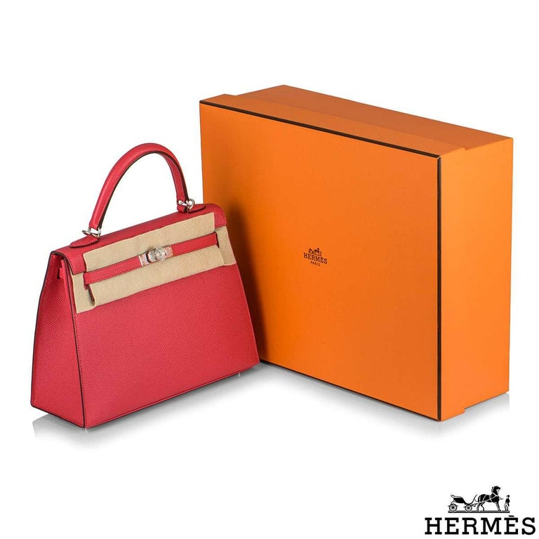 Hermès  Kelly II Sellier 25cm Epsom Rose Extreme PHW New For Sale 5