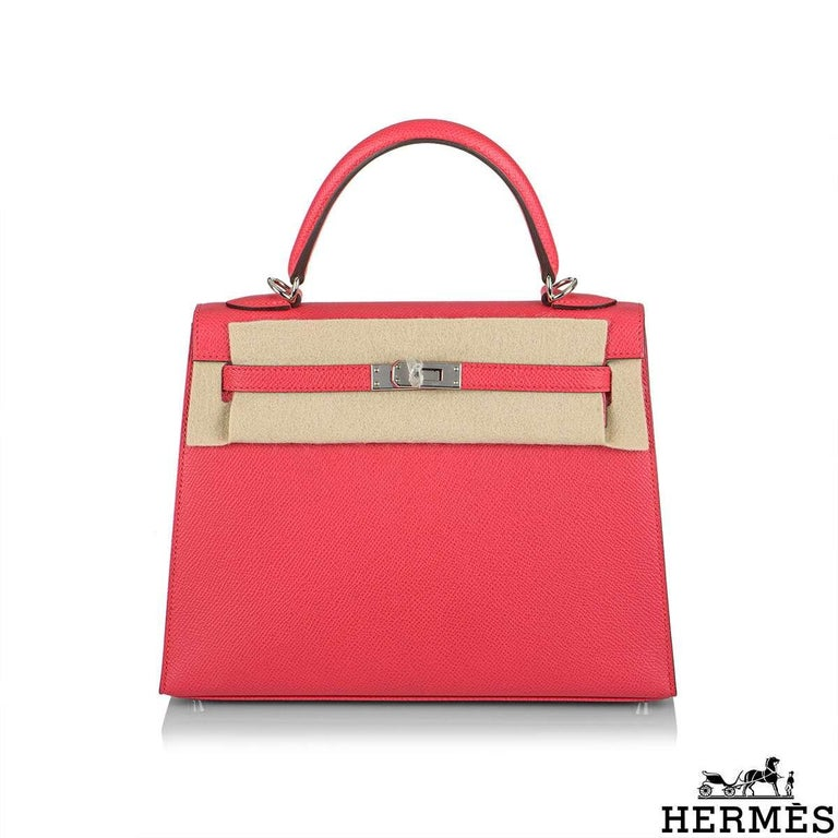 Red Hermès  Kelly II Sellier 25cm Epsom Rose Extreme PHW New For Sale