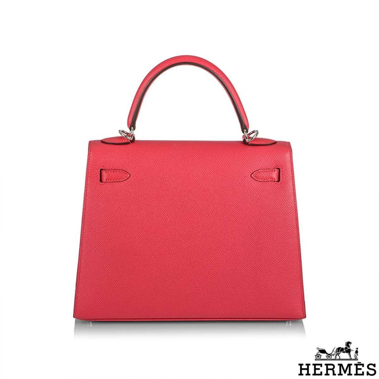 Hermès  Kelly II Sellier 25cm Epsom Rose Extreme PHW New In New Condition For Sale In London, GB