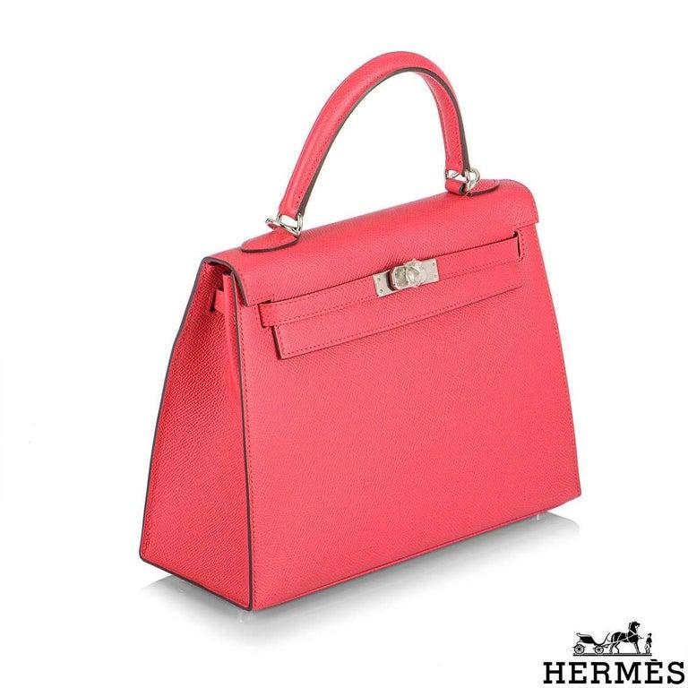 Women's Hermès  Kelly II Sellier 25cm Epsom Rose Extreme PHW New For Sale