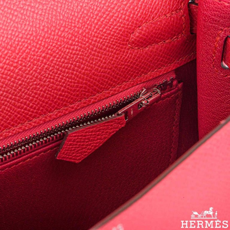 Hermès  Kelly II Sellier 25cm Epsom Rose Extreme PHW New For Sale 2