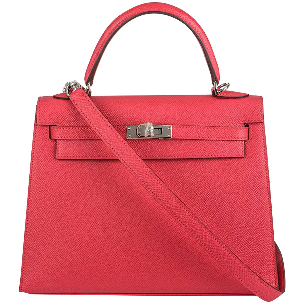 Hermès  Kelly II Sellier 25cm Epsom Rose Extreme PHW New