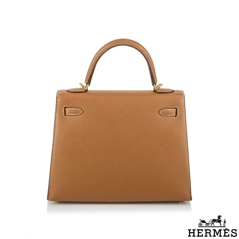 Hermès Kelly II Sellier 25cm Gold Veau Epsom Kelly Bag In New Condition For Sale In London, GB