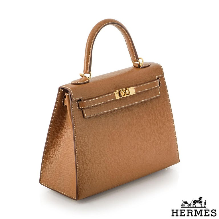 Women's Hermès Kelly II Sellier 25cm Gold Veau Epsom Kelly Bag For Sale