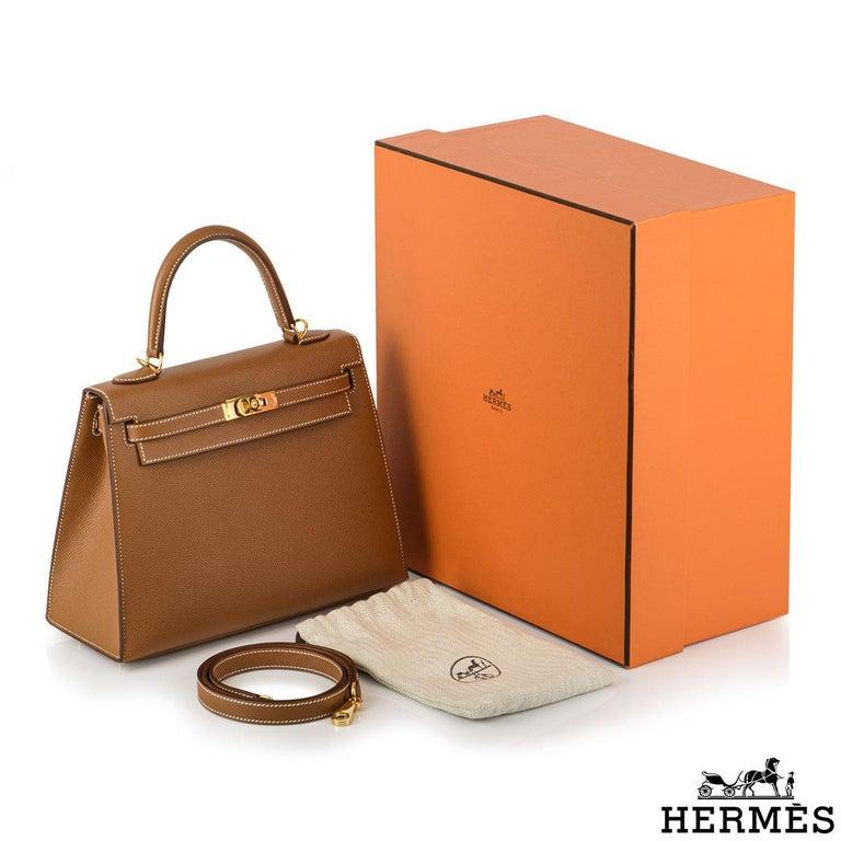 Hermès Kelly II Sellier 25cm Gold Veau Epsom Kelly Bag For Sale 5