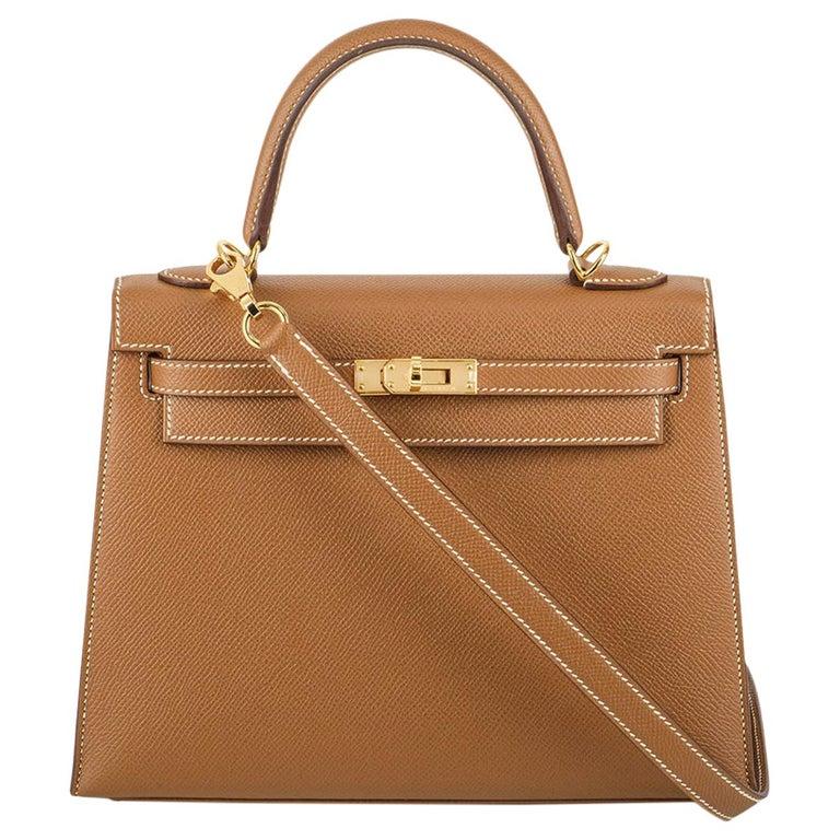 Hermès Kelly II Sellier 25cm Gold Veau Epsom Kelly Bag For Sale