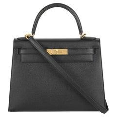 Hermès Kelly II Sellier 28 cm Noir Epsom GHW Handbag