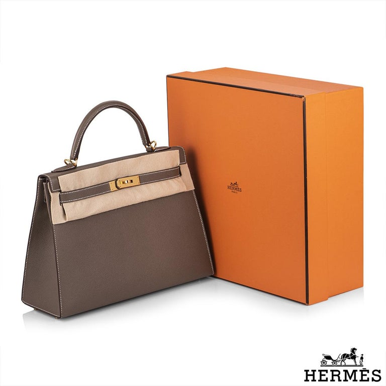 Hermès  Kelly II Sellier 32cm Epsom Etoupe GHW For Sale 6