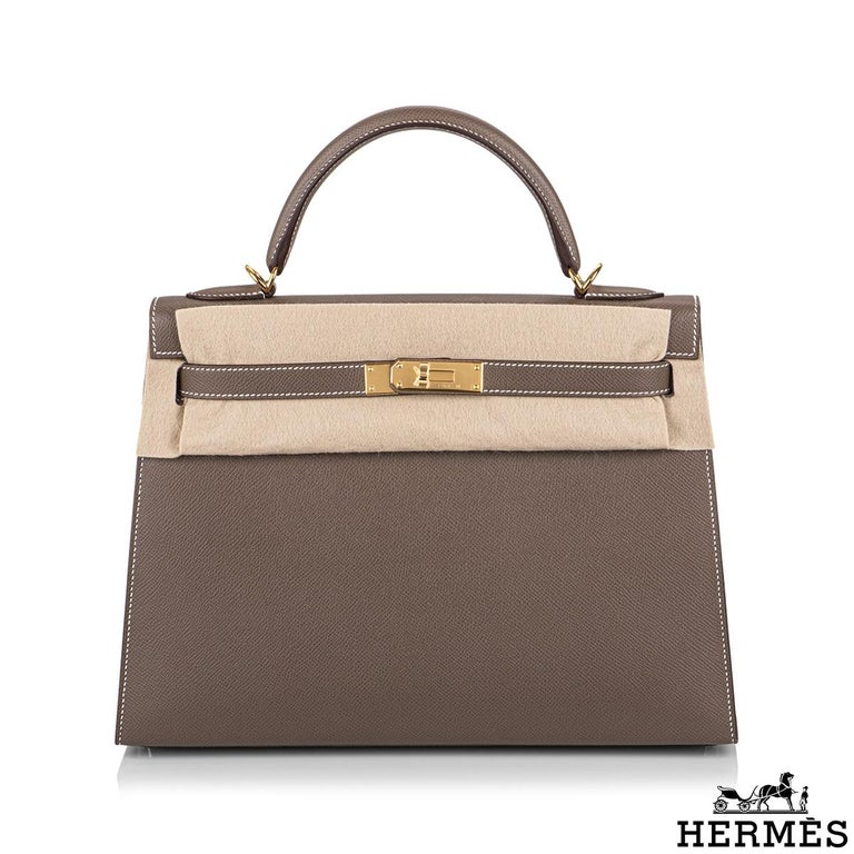 Hermès  Kelly II Sellier 32cm Epsom Etoupe GHW In New Condition For Sale In London, GB