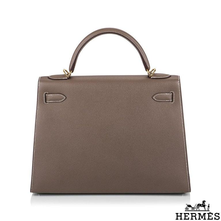 Women's Hermès  Kelly II Sellier 32cm Epsom Etoupe GHW For Sale