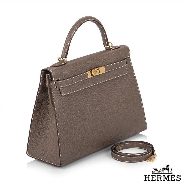 Hermès  Kelly II Sellier 32cm Epsom Etoupe GHW For Sale 1