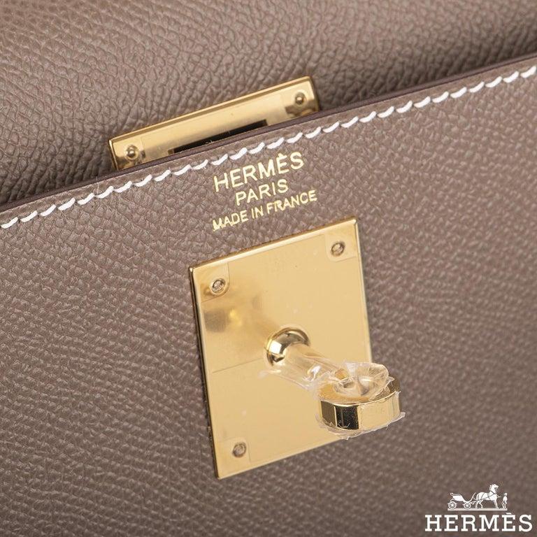 Hermès  Kelly II Sellier 32cm Epsom Etoupe GHW For Sale 2