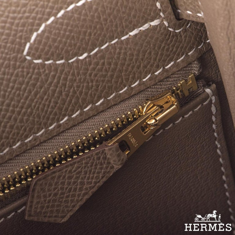 Hermès  Kelly II Sellier 32cm Epsom Etoupe GHW For Sale 4