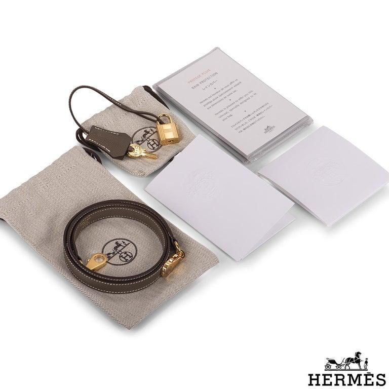 Hermès  Kelly II Sellier 32cm Epsom Etoupe GHW For Sale 5