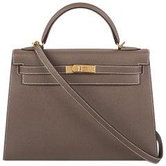 Hermès  Kelly II Sellier 32cm Epsom Etoupe GHW