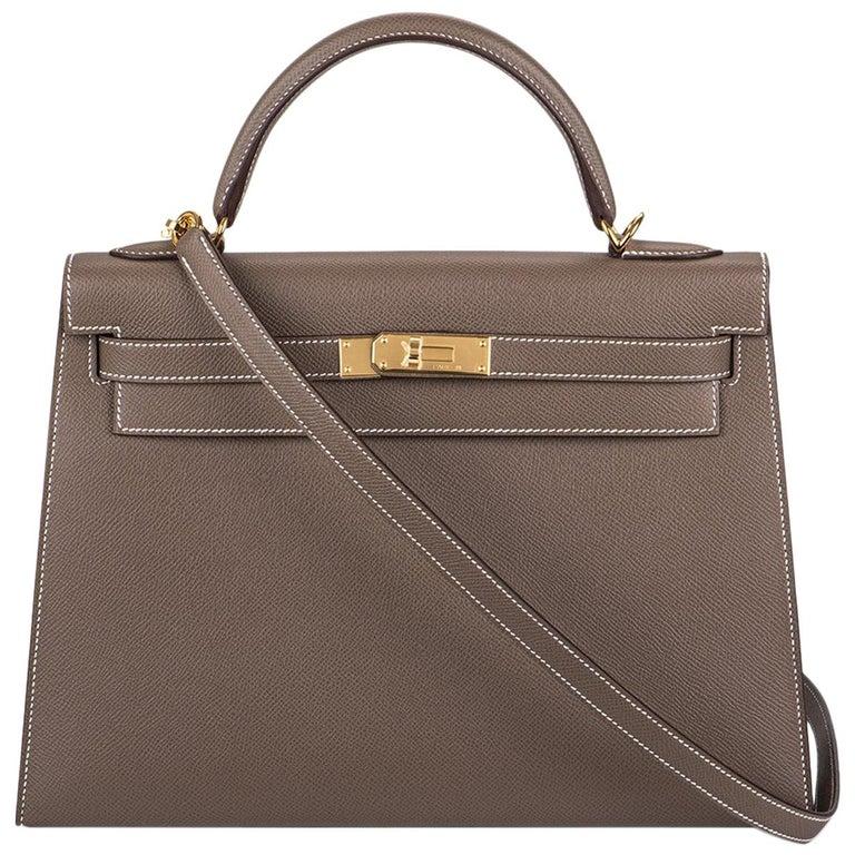 Hermès  Kelly II Sellier 32cm Epsom Etoupe GHW For Sale