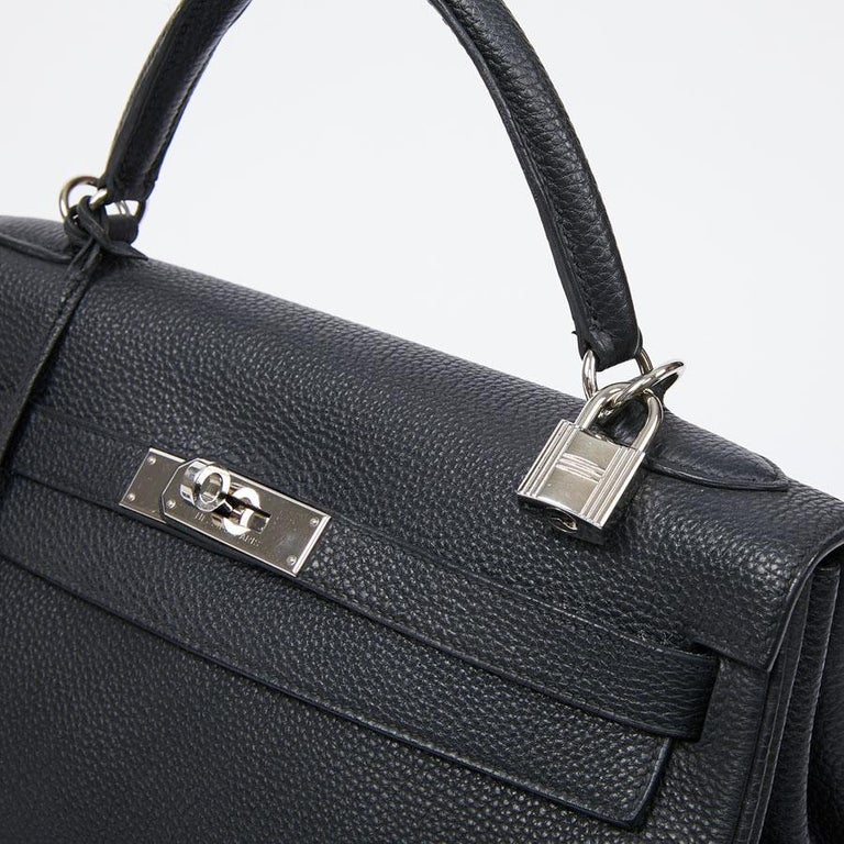 HERMES Kelly In Black Togo Leather With Removable Strap For Sale 6