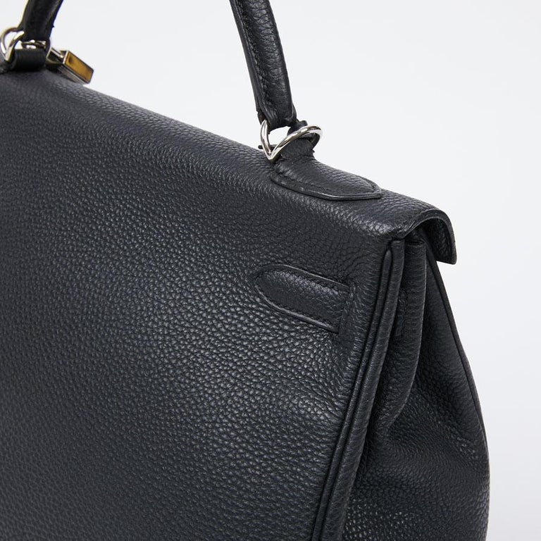 HERMES Kelly In Black Togo Leather With Removable Strap For Sale 4