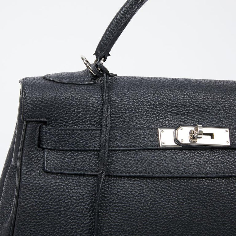 HERMES Kelly In Black Togo Leather With Removable Strap For Sale 5