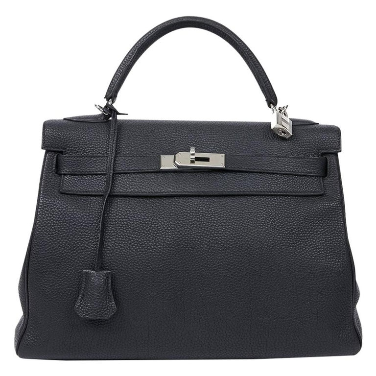 HERMES Kelly In Black Togo Leather With Removable Strap For Sale