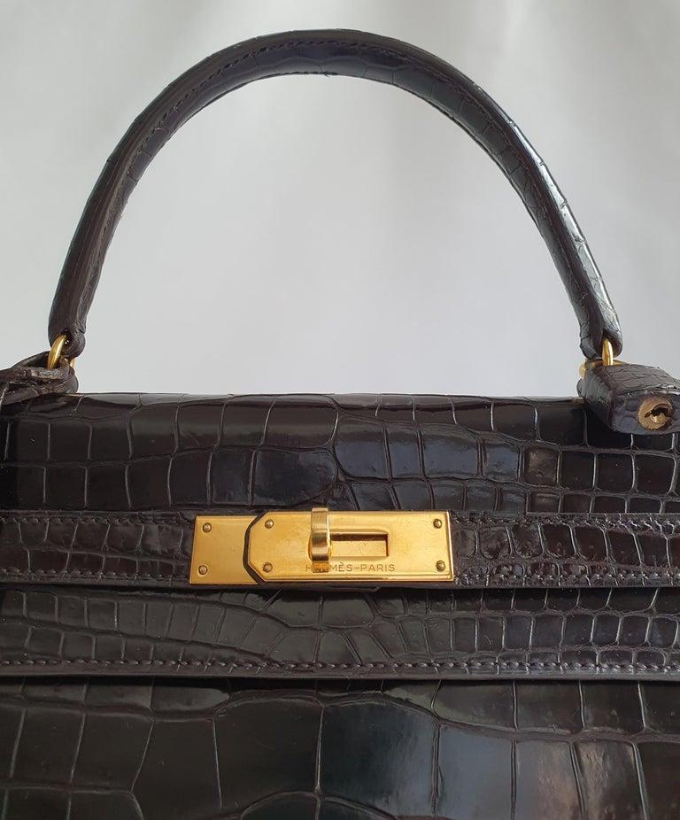 Hermès, Kelly in brown Porosus Crocodile  For Sale 6
