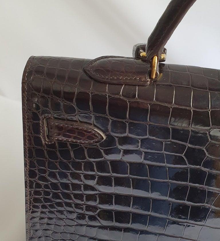 Hermès, Kelly in brown Porosus Crocodile  For Sale 7