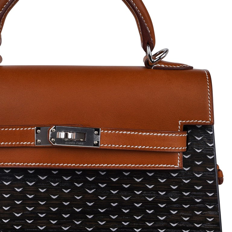 Black Hermes Kelly Kellywood 22 cm Wood Kelly Barenia Leather Limited Edition For Sale