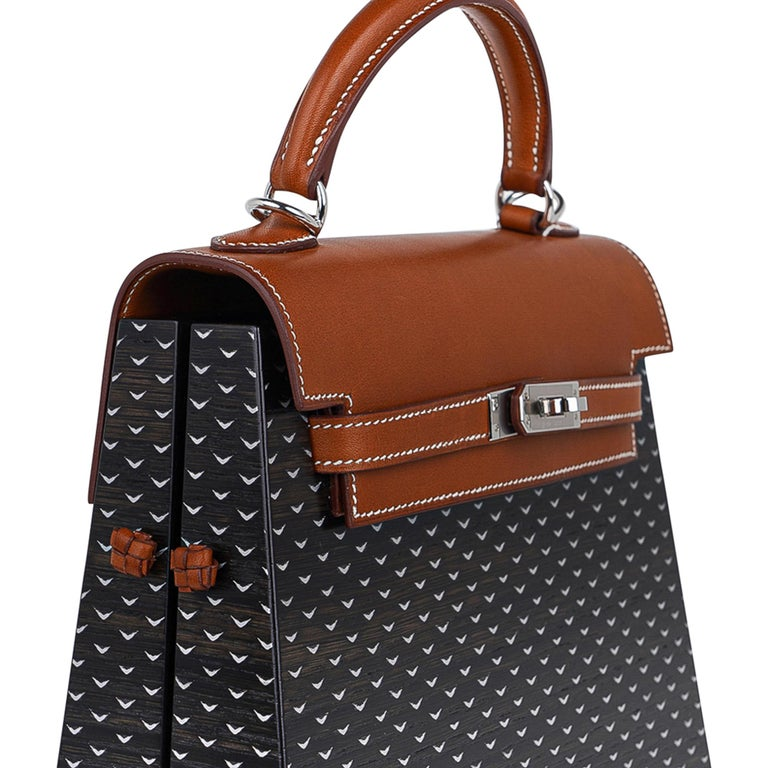 Hermes Kelly Kellywood 22 cm Wood Kelly Barenia Leather Limited Edition For Sale 2