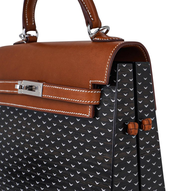 Hermes Kelly Kellywood 22 cm Wood Kelly Barenia Leather Limited Edition For Sale 3