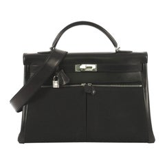 Hermes Kelly Lakis Handbag Toile and Noir Box Calf with Palladium Hardware 40