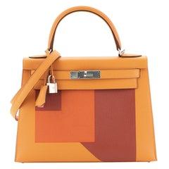 Hermes Kelly Lettre Handbag Feu Epsom with Palladium Hardware 28