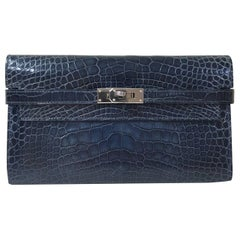 Hermes Kelly Long Alligator Wallet Clutch