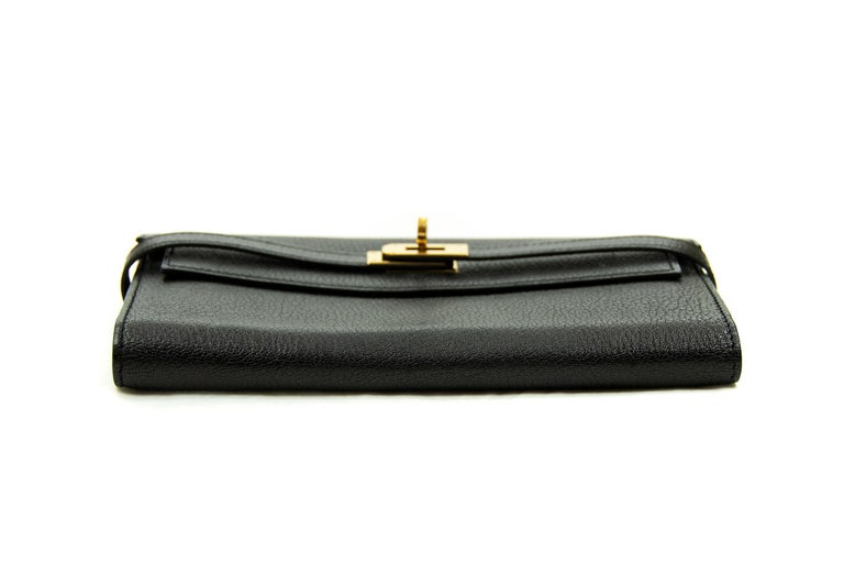 Hermès Kelly Long Wallet Black GHW In New Condition For Sale In Newport, RI