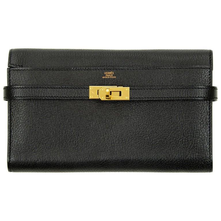Hermès Kelly Long Wallet Black GHW For Sale
