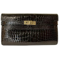 HERMES Kelly Long Wallet in Black Mississippiensis Alligator