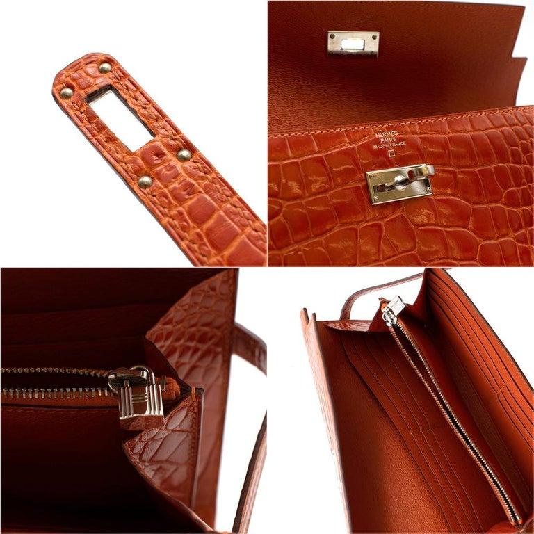 Hermès Kelly Long Wallet in Feu Lisse Alligator Mississippiensis PHW For Sale 3