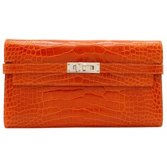 Hermès Kelly Long Wallet in Feu Lisse Alligator Mississippiensis PHW